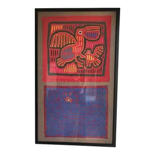 Framed Mola Textile Art