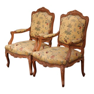 20th Century French Louis XV Carved Armchairs - A Pair