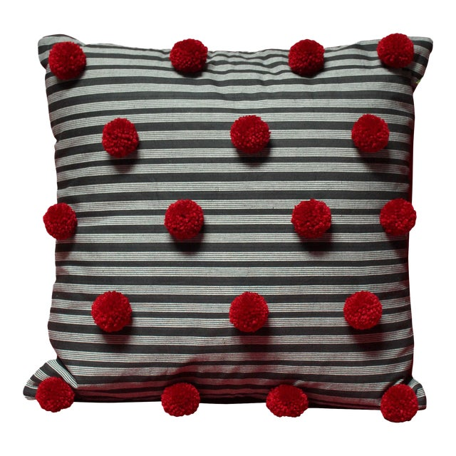 Black Lurik Pillow with Cranberry Red Pom-poms Tassels - Image 1 of 6