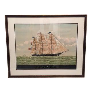 Vintage Watercolor Clipper Ship Print
