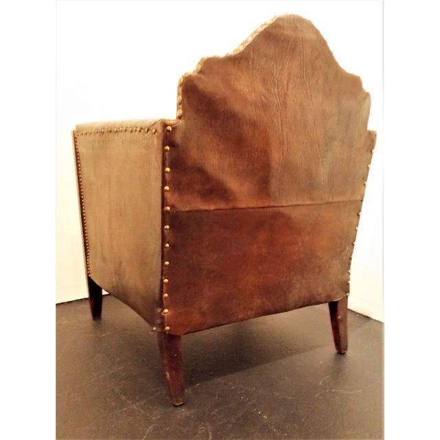 Vintage French Leather Club Chair - Image 4 of 8