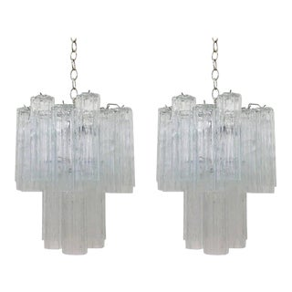 Pair of Italian Glass and Chrome Chandeliers by Venini