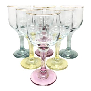 Colored Stem Wine Glasses- Set of 6