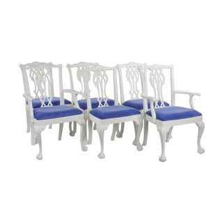 White Painted Chippendale Dining Chairs - Set of 6