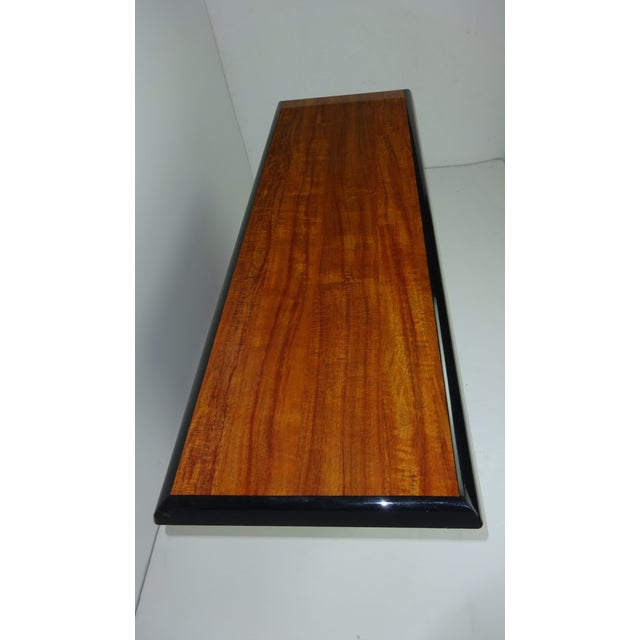 T Shaped Black & Wood Grain Console - Image 3 of 7