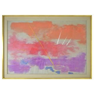 "Sylvia Carewe, ""Sunset on Masts"" Pastel Painting, circa 1970"