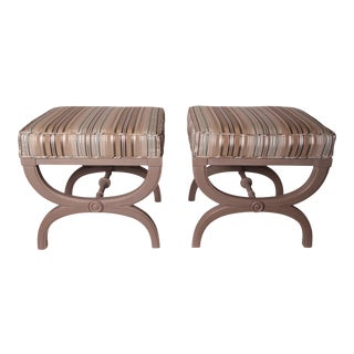 Vintage Hollywood Regency X-Benches- A Pair