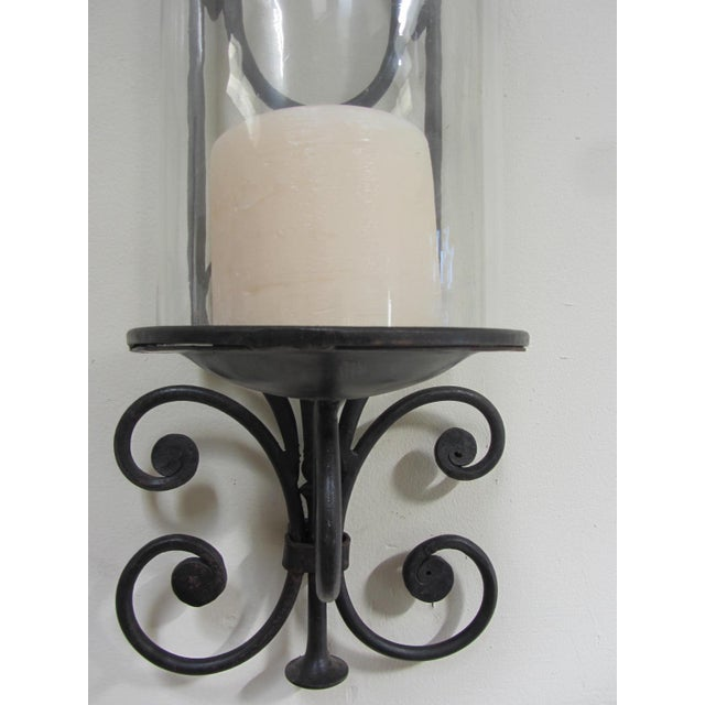 Large Wrought Iron Candle Sconces - Pair - Image 4 of 5