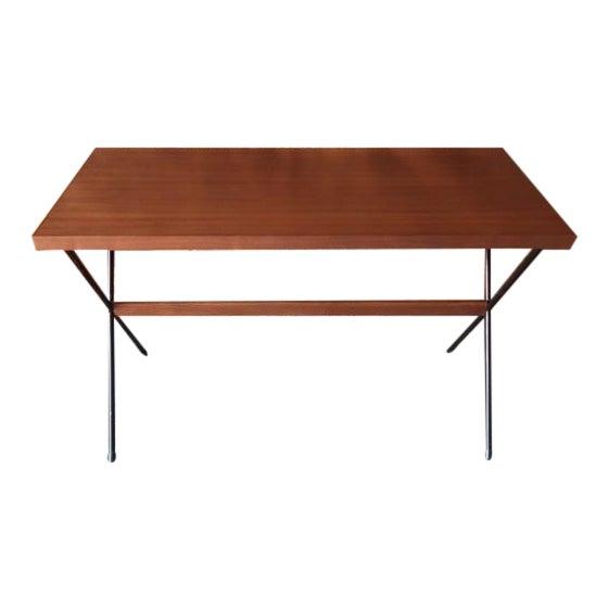 Mid Century Style Custom Walnut Wrought Iron Desk