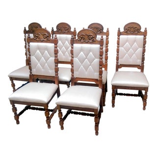 Mid-Century Spanish Revival Carved Dining Chairs - S/6