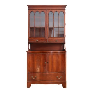 Antique Morganton Mahogany China Cabinet Hutch