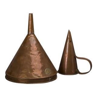 Solid Copper Funnel Set, England c. 1900, Maker's Label
