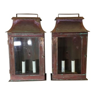 Architectural Wall Hanging Copper Lanterns - A Pair