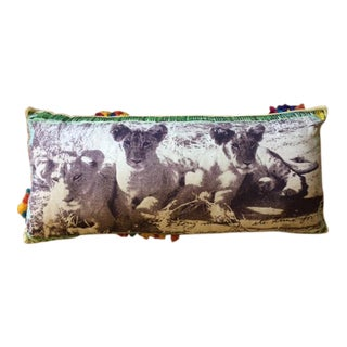 Peter Beard Inspired Anthropologie African Safari Lion Pillow