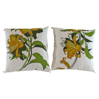 Yellow Lily Alfred Shaheen Pillows - A Pair