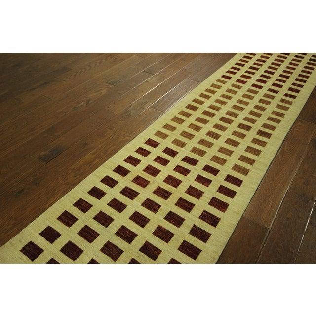 Image of Ivory Checkered Kashkuli Gabbeh Runner - 3'x10'