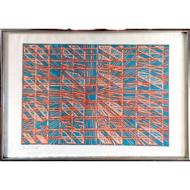 "Image of ""Orange & Blues"" Trial Proof Block Print- 1965"