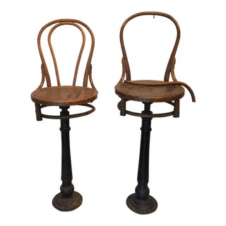 Antique Wrought Iron Barstools - A Pair
