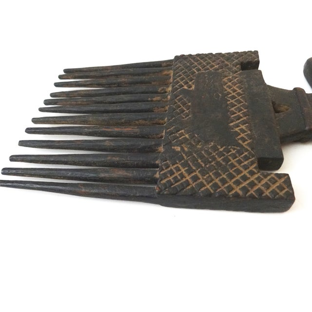 Image of African Ashanti Tribe Carved Comb Figure Ghana