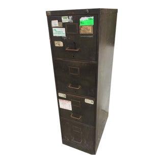 1950s Industrial Metal Filing Cabinet