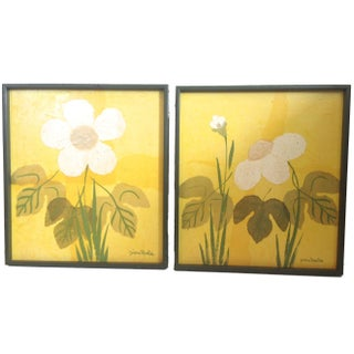 Mid-Century Flower Paintings - A Pair