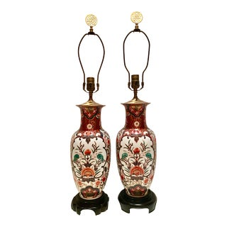Hand-Painted Porcelain Imari Vase Table Lamps - A Pair