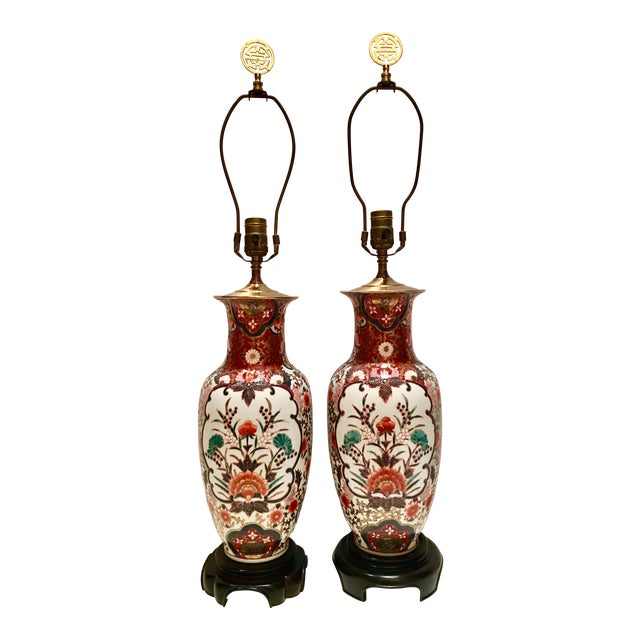 Image of Hand-Painted Porcelain Imari Vase Table Lamps - A Pair