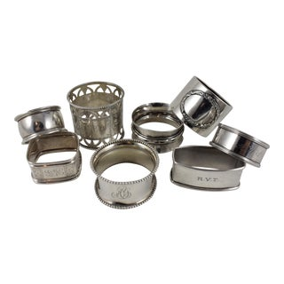 Antique Mixed Sterling Silver Napkin Rings - Set of 8