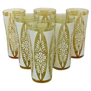 1960s Golden Amber Tumblers - Set of Six