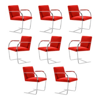 Ludwig Mies van der Rohe Set of Eight Stainless Steel Brno Chairs by Knoll