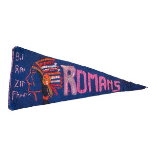 Painted Romans Indian Headress Felt Flag