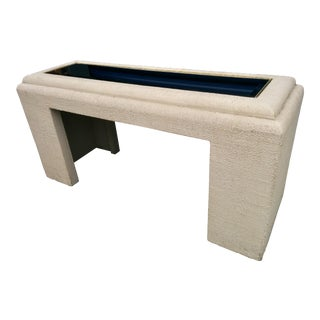 Faux Stone Console Table with Mirrored Top