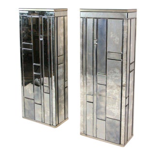 Beveled Mirror Side Cabinets - A Pair