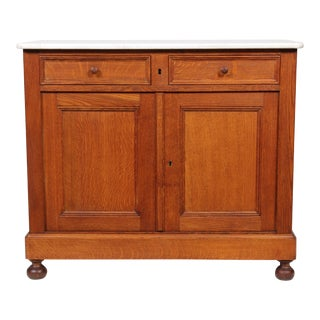 Edwardian Oak Wash Stand W/ Marble Top