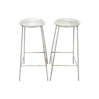 Iron & Wicker Bar Stools - Pair