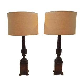 Vintage Hand Carved Wooden Lamps - A Pair