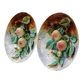19th Century French Hand-Painted Barbotine Apples Wall Plates - A Pair