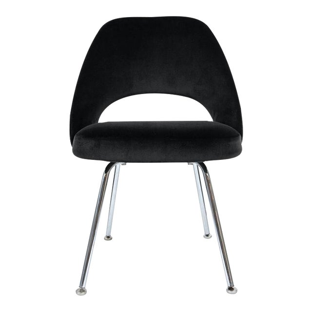 Image of Saarinen Executive Armless Chair in Black Velvet