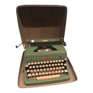 Mid-Century Modern Green Royal Typewriter & Case