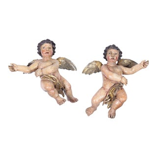 Early 18th Century Italian Carved Polychrome Cherubs with Gilt - A Pair