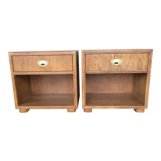 Drexel Passage Collection Campaign Nightstands - A Pair