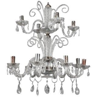 Italian Murano Glass Double-Tier Chandelier