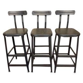 Industrial Steel Bar Stools - Set of 3