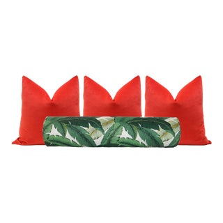Palm Leaf Print Bolster & Vermillion Velvet Pillows - Set of 4