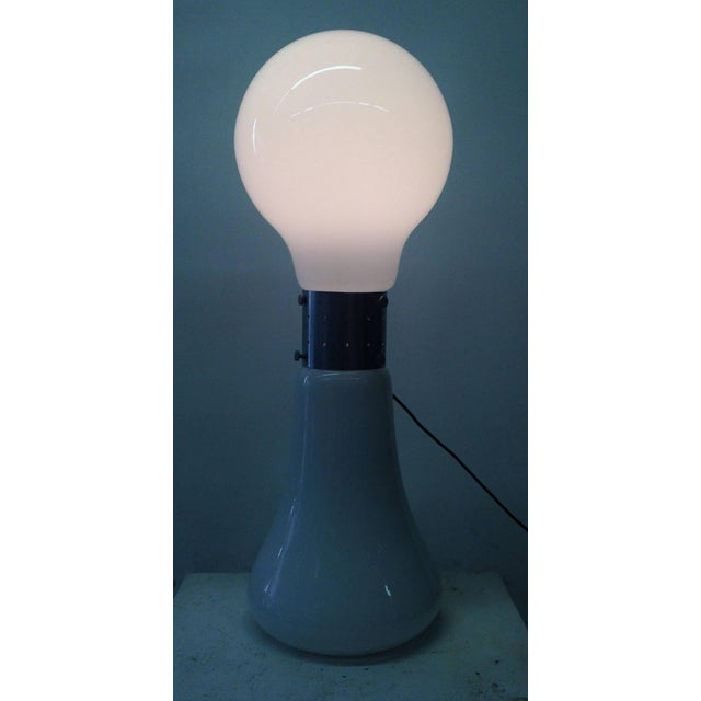 Image of 1970's Floor Light with Opaque Glass Base