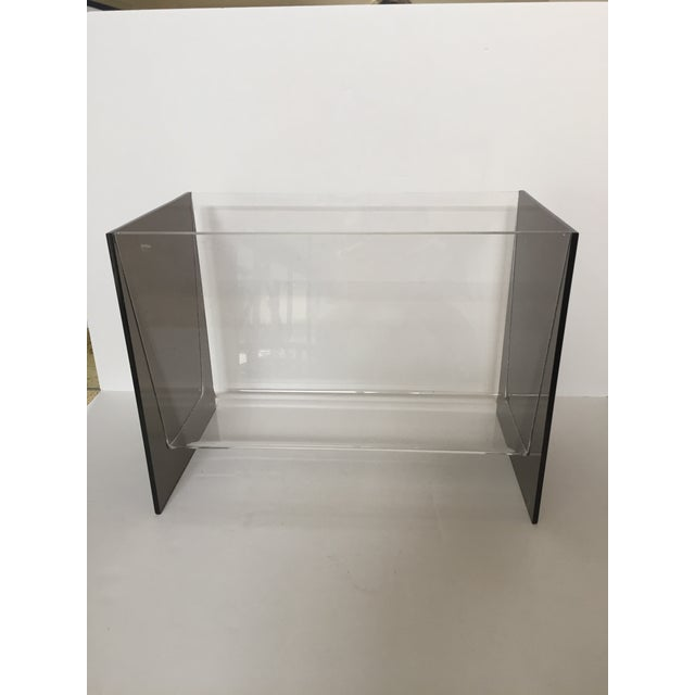 Clear & Smoky Grey Lucite Magazine Holder - Image 8 of 8