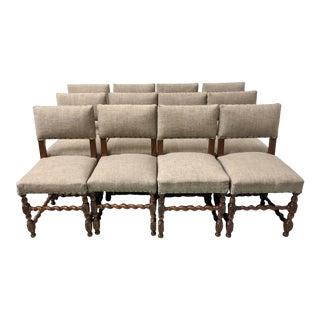 Set of 12 English Barley Twist Dining Chairs