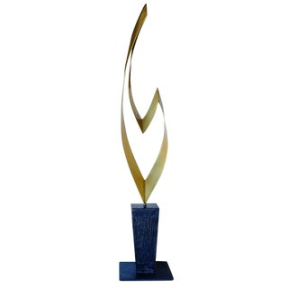 "Brass and Marble Abstract ""Ribbon"" Sculpture by Curtis Jere for Artisan House"