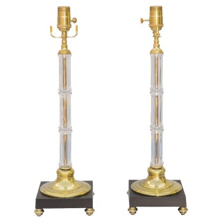 "Pair of Glass and Brass ""Bamboo"" Lamps"