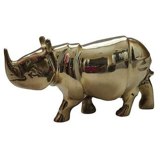 Solid Brass Rhinoceros Figurine